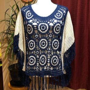NY Collection crochet poncho blue/white size XL
